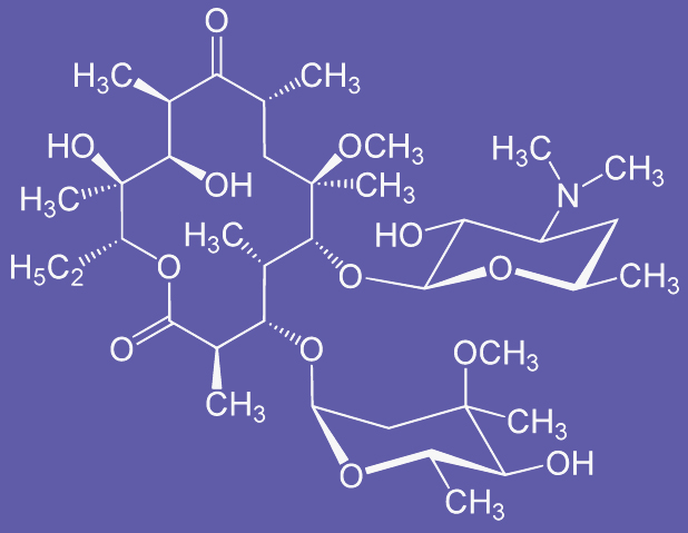 """Clarithromycin structure"" by Yikrazuul - Own work. Licensed under Public Domain via Wikimedia."